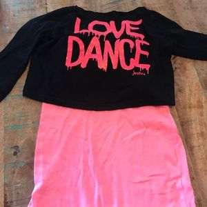 "Justice Long Sleeve ""Dance"" Layered Shirt"